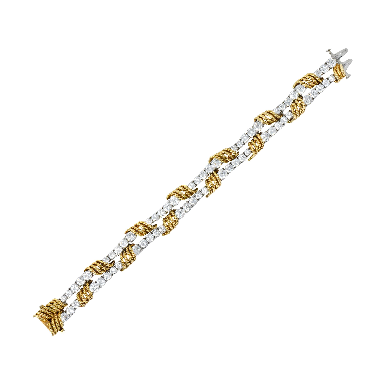 Tiffany & Co. Vintage 14.00 Carat Diamond 18 Karat Gold Platinum Bracelet