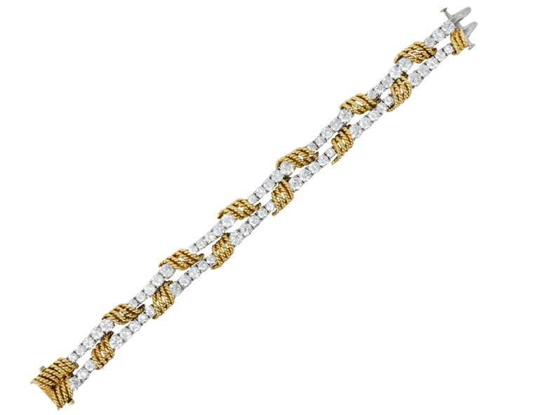 Modern Tiffany & Co. Vintage 14.00 Carat Diamond 18 Karat Gold Platinum Bracelet For Sale