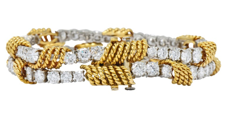 Tiffany & Co. Vintage 14.00 Carat Diamond 18 Karat Gold Platinum Bracelet In Excellent Condition For Sale In Philadelphia, PA