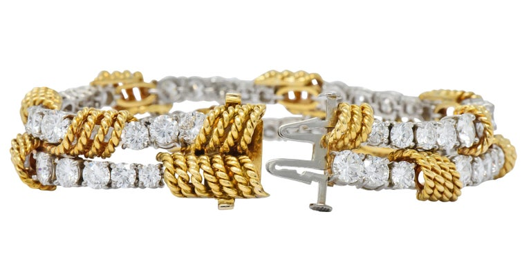 Women's or Men's Tiffany & Co. Vintage 14.00 Carat Diamond 18 Karat Gold Platinum Bracelet For Sale