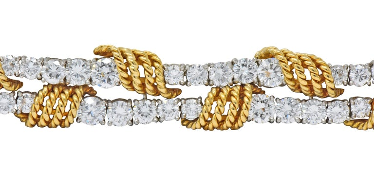 Tiffany & Co. Vintage 14.00 Carat Diamond 18 Karat Gold Platinum Bracelet For Sale 1