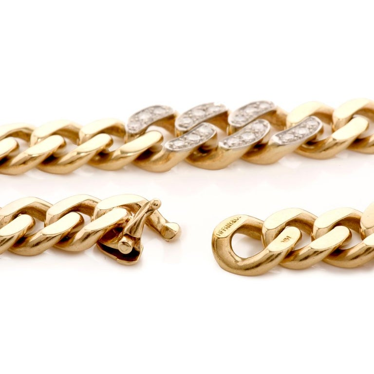 Tiffany & Co. Vintage 14 Karat Gold Link Choker Chain Necklace In Excellent Condition For Sale In Miami, FL
