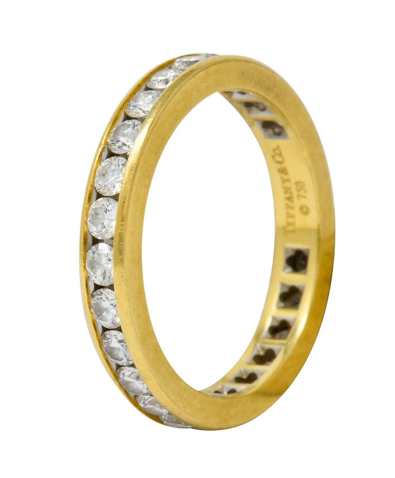 Women's or Men's Tiffany & Co. Vintage 1.50 Carat Diamond 18 Karat Gold Eternity Band Ring For Sale