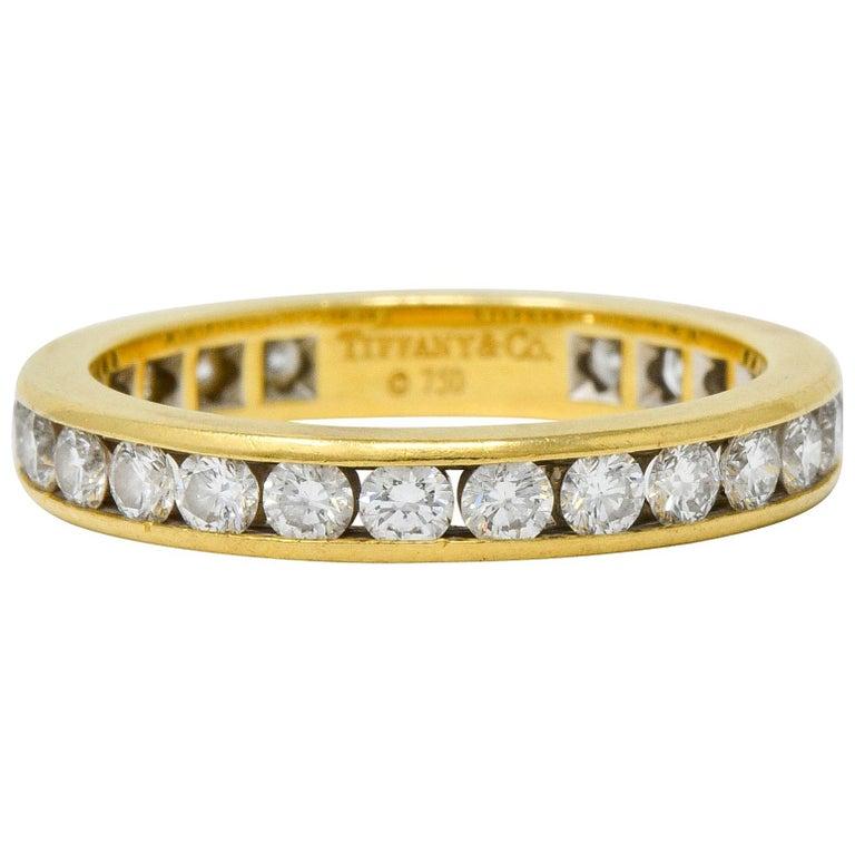 Tiffany & Co. Vintage 1.50 Carat Diamond 18 Karat Gold Eternity Band Ring For Sale