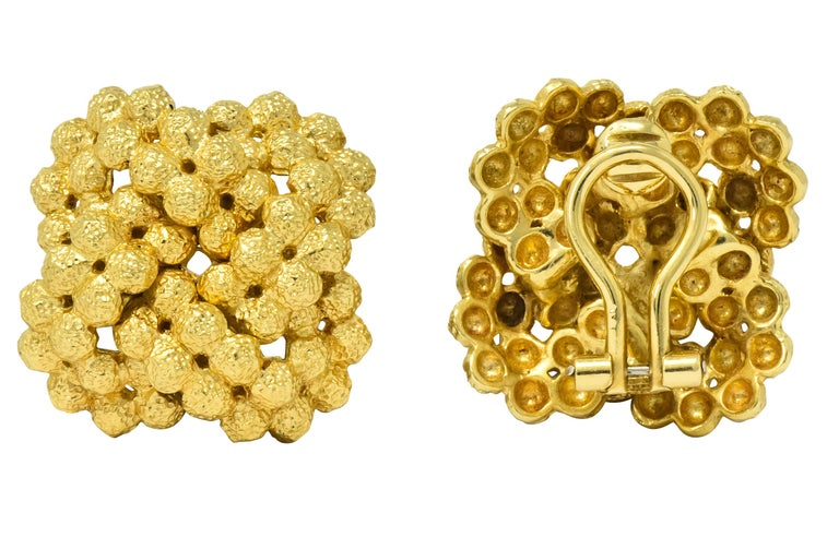 Contemporary Tiffany & Co. Vintage 18 Karat Gold Cluster Ear-Clip Earrings For Sale