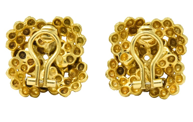 Tiffany & Co. Vintage 18 Karat Gold Cluster Ear-Clip Earrings In Excellent Condition For Sale In Philadelphia, PA