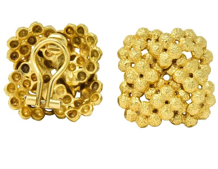 Women's or Men's Tiffany & Co. Vintage 18 Karat Gold Cluster Ear-Clip Earrings For Sale
