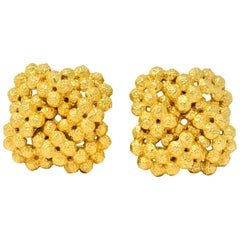 Tiffany & Co. Vintage 18 Karat Gold Cluster Ear-Clip Earrings