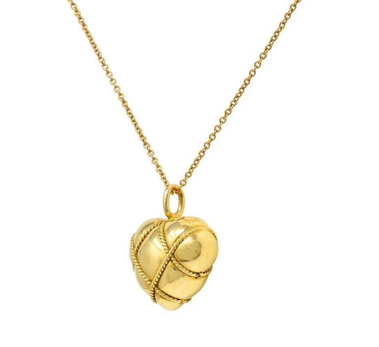 Contemporary Tiffany & Co. Vintage 18 Karat Gold Cross My Heart Pendant Necklace For Sale