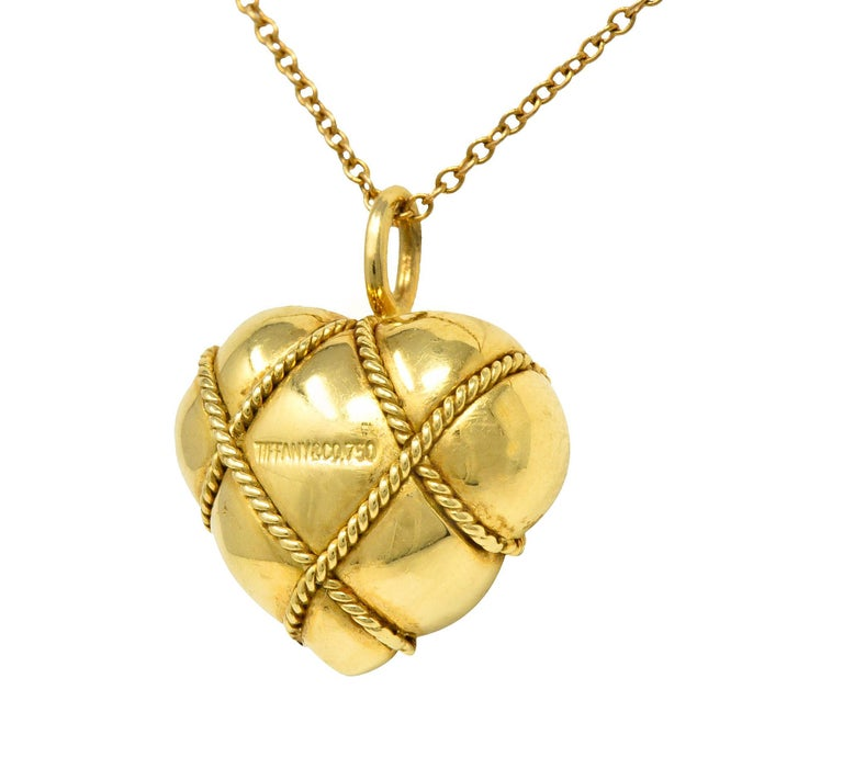 Tiffany & Co. Vintage 18 Karat Gold Cross My Heart Pendant Necklace For Sale 1