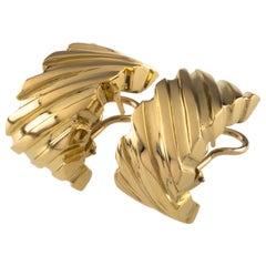 Tiffany & Co. Vintage 18 Karat Gold Huggie Earrings with Omega Backs