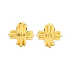 Tiffany & Co. Vintage 18 Karat Gold Signature X Cross Earrings