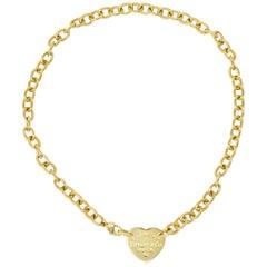 Tiffany & Co. Vintage 18 Karat Gold Tiffany Heart Collar Necklace