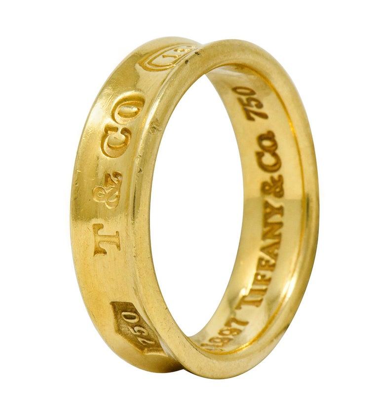 Tiffany & Co. Vintage 18 Karat Gold Unisex 1837 Band Ring For Sale 5