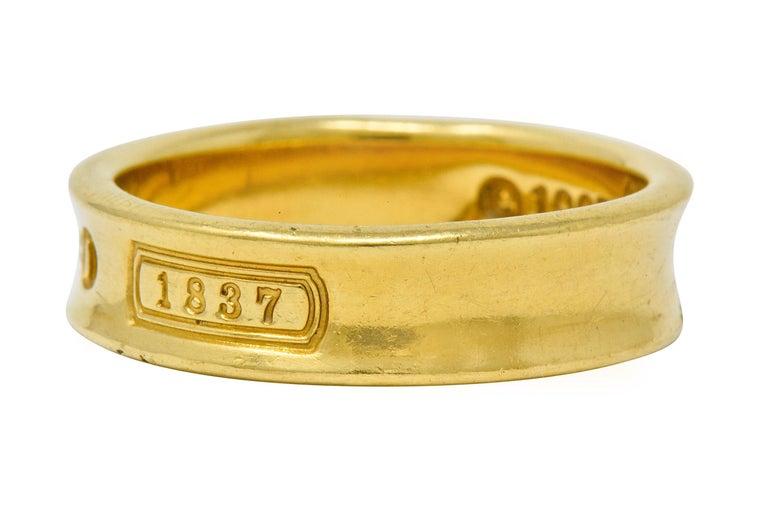 Women's or Men's Tiffany & Co. Vintage 18 Karat Gold Unisex 1837 Band Ring For Sale
