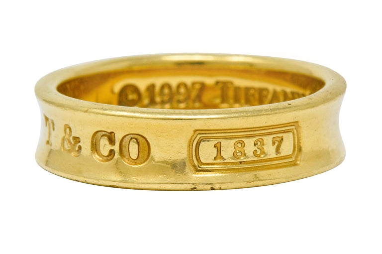 Tiffany & Co. Vintage 18 Karat Gold Unisex 1837 Band Ring For Sale 1