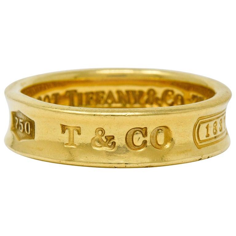 Tiffany & Co. Vintage 18 Karat Gold Unisex 1837 Band Ring For Sale