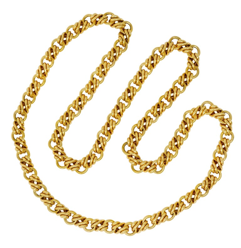 Chain style necklace comprised of oval links alternating with curbed links  Featuring a bright polished finish  Completed by a concealed clasp and two figure eight safeties  Fully signed Tiffany & Co. Germany  Stamped 18kt for 18 karat gold  Length: