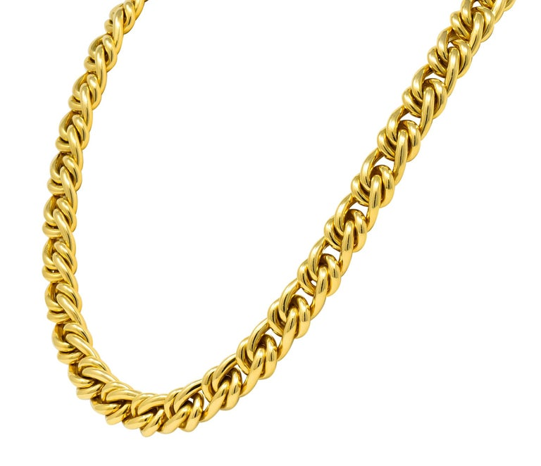 Contemporary Tiffany & Co. Vintage 18 Karat Yellow Gold Curbed Link Necklace For Sale