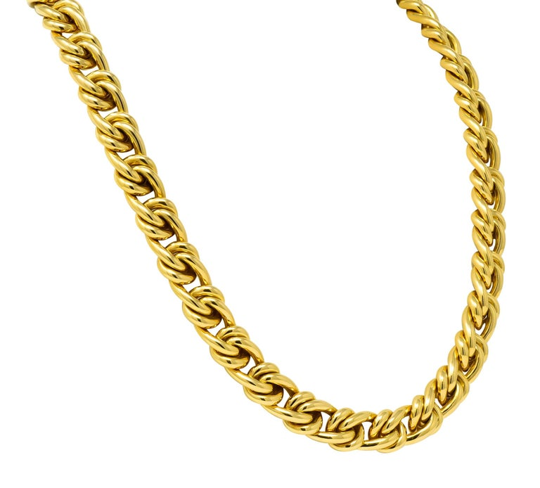 Tiffany & Co. Vintage 18 Karat Yellow Gold Curbed Link Necklace In Excellent Condition For Sale In Philadelphia, PA
