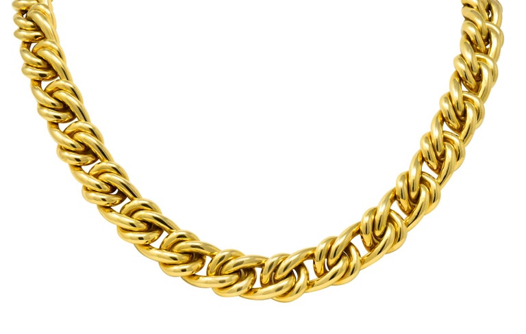 Tiffany & Co. Vintage 18 Karat Yellow Gold Curbed Link Necklace For Sale 3