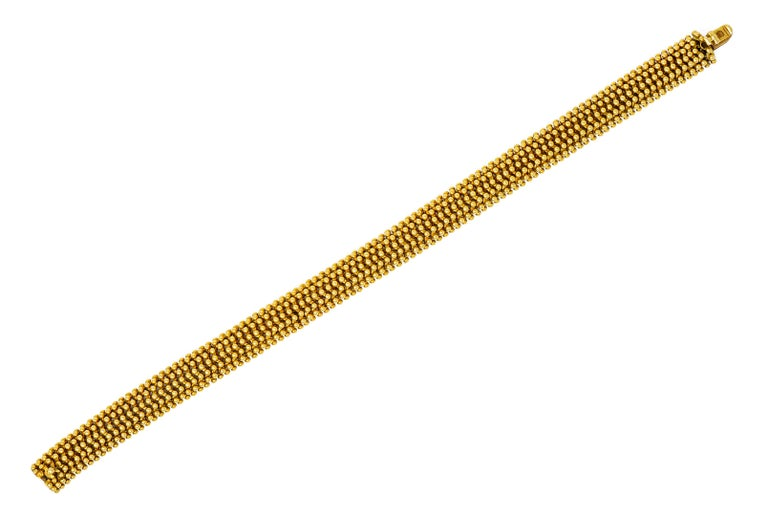 Designed as a voluminous linked bracelet with fluid movement  Decorated to front with polished gold beading  Completed by concealed clasp and hinged safety  Fully signed Tiffany & Co. Italy  Stamped 18K for 18 karat gold  Length: 7 1/4
