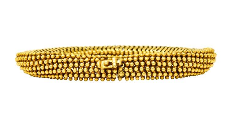 Tiffany & Co. Vintage 18 Karat Yellow Gold Beaded Link Bracelet In Excellent Condition In Philadelphia, PA