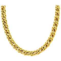 Tiffany & Co. Vintage 18 Karat Yellow Gold Curbed Link Necklace