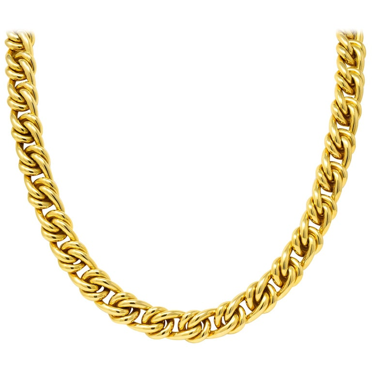 Tiffany & Co. Vintage 18 Karat Yellow Gold Curbed Link Necklace For Sale