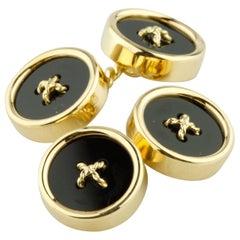Tiffany & Co. Vintage 18 Karat Yellow Gold Onyx Button Cufflinks Great Condition