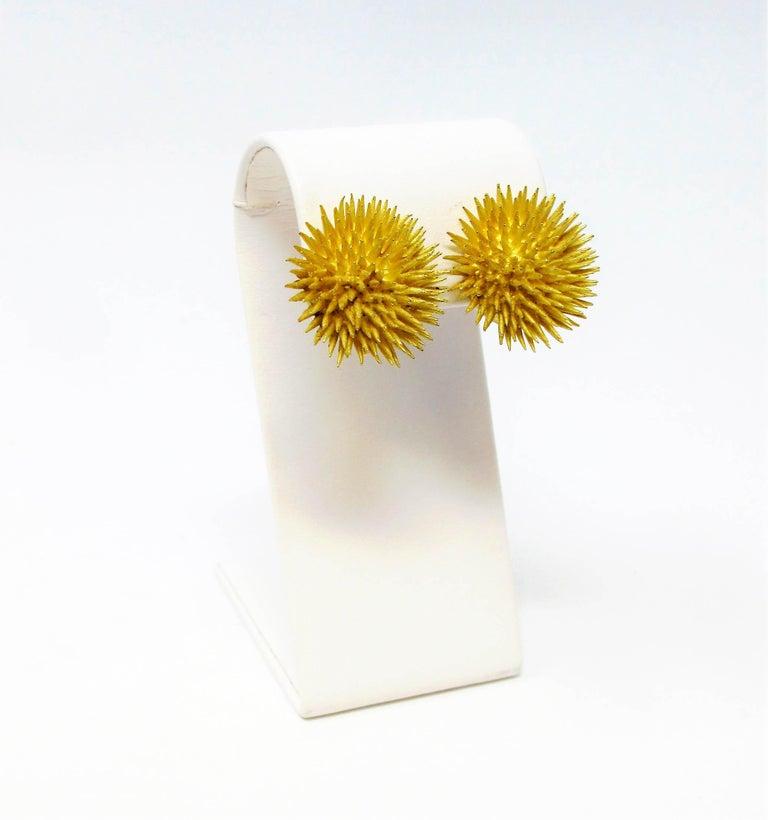 Tiffany & Co. Vintage 18 Karat Yellow Gold Sea Urchin Dome Non-Pierced Earrings For Sale 6
