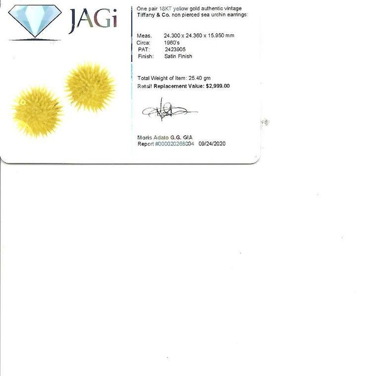 Tiffany & Co. Vintage 18 Karat Yellow Gold Sea Urchin Dome Non-Pierced Earrings For Sale 7