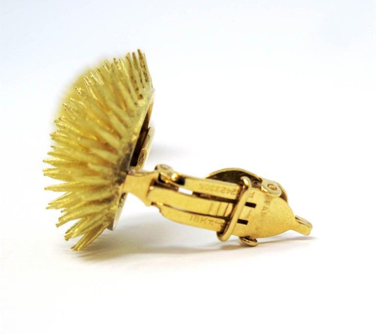 Tiffany & Co. Vintage 18 Karat Yellow Gold Sea Urchin Dome Non-Pierced Earrings For Sale 3