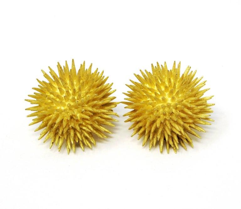 Tiffany & Co. Vintage 18 Karat Yellow Gold Sea Urchin Dome Non-Pierced Earrings For Sale 5