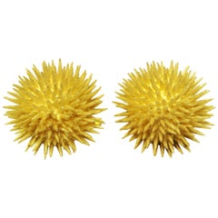 Tiffany & Co. Vintage 18 Karat Yellow Gold Sea Urchin Dome Non-Pierced Earrings