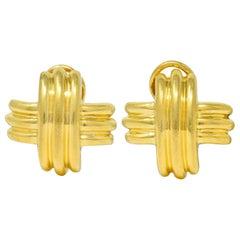 Tiffany & Co. Vintage 18 Karat Yellow Gold Signature X Cross Earrings