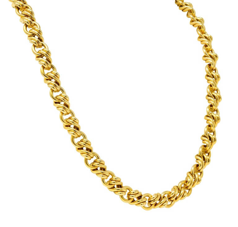 Tiffany & Co. Vintage 18 Karat Yellow Gold Substantially Linked Chain Necklace In Excellent Condition For Sale In Philadelphia, PA