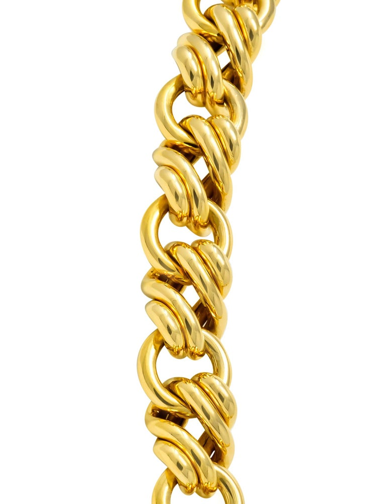 Women's or Men's Tiffany & Co. Vintage 18 Karat Yellow Gold Substantially Linked Chain Necklace For Sale