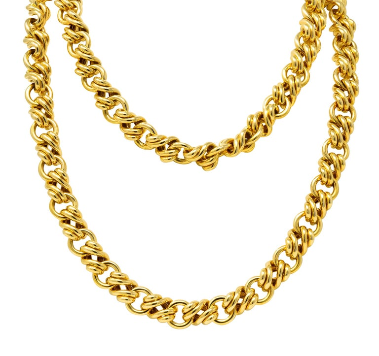 Tiffany & Co. Vintage 18 Karat Yellow Gold Substantially Linked Chain Necklace For Sale 1