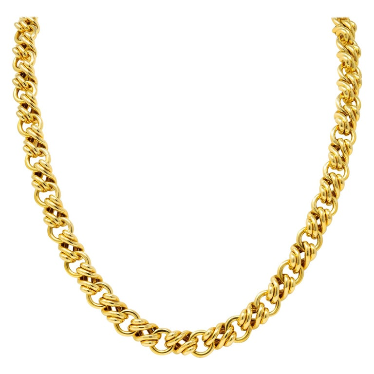 Tiffany & Co. Vintage 18 Karat Yellow Gold Substantially Linked Chain Necklace For Sale
