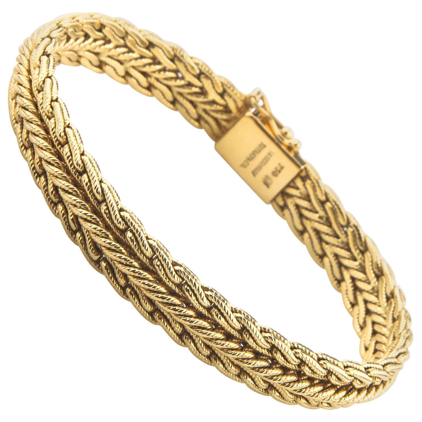 Tiffany & Co. Vintage 18 Karat Yellow Gold Woven Mesh Bracelet W. Germany