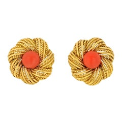 Tiffany & Co. Vintage 18K Yellow Gold Cabochon Orange Earrings