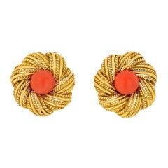 Tiffany & Co. Vintage 18K Yellow Gold Cabochon Orange Earrings