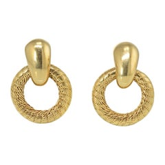 Tiffany & Co. Vintage 18k Yellow Gold Door Knockers Circle Earrings