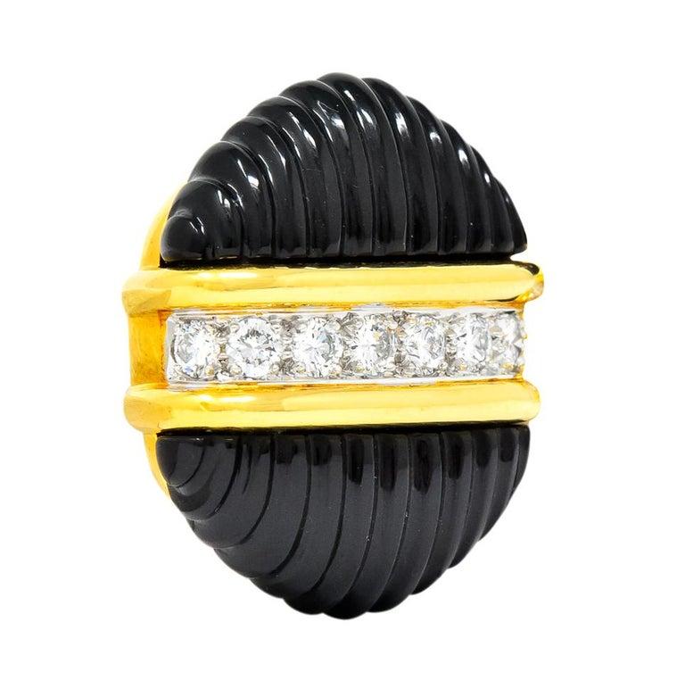 Contemporary Tiffany & Co. Vintage 1.92 Carat Diamond Onyx 18 Karat Gold Ear-Clip Earrings For Sale
