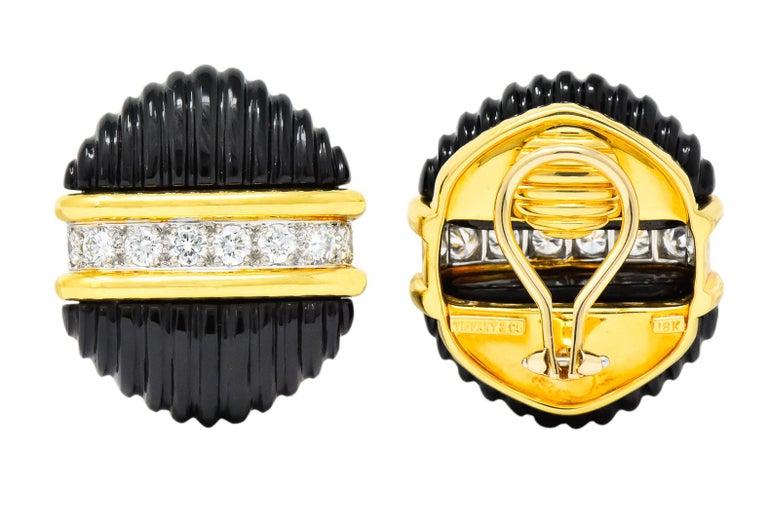 Tiffany & Co. Vintage 1.92 Carat Diamond Onyx 18 Karat Gold Ear-Clip Earrings For Sale 3