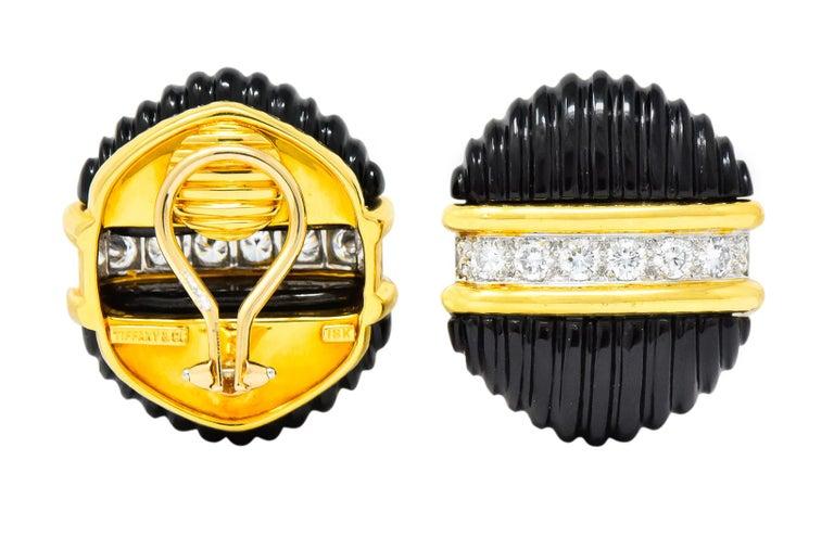 Tiffany & Co. Vintage 1.92 Carat Diamond Onyx 18 Karat Gold Ear-Clip Earrings For Sale 4