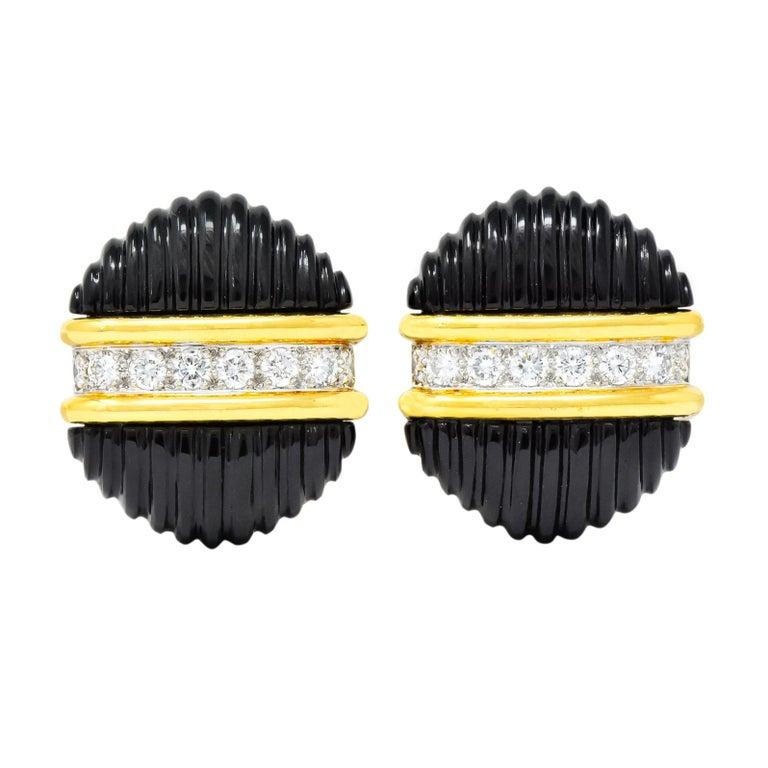 Tiffany & Co. Vintage 1.92 Carat Diamond Onyx 18 Karat Gold Ear-Clip Earrings For Sale