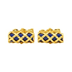 Tiffany & Co. Vintage 1970s Enamel 18 Karat Gold Men's Lattice Cufflinks