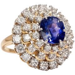 Tiffany & Co. Vintage 1980s 3.7 ct No Heat Ceylon Sapphire Diamond Cocktail Ring